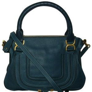 Chloé Steel Blue Leather Marcie Satchel